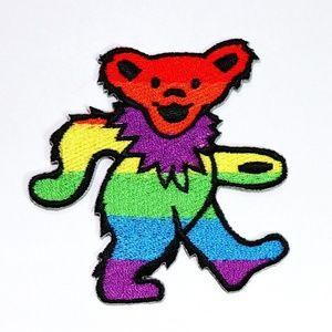 Grateful Dead patch iron on bear rainbow DIY band